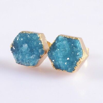 10mm Hexagon Blue Agate Druzy Geode Stud Earrings Gold Plated B049957