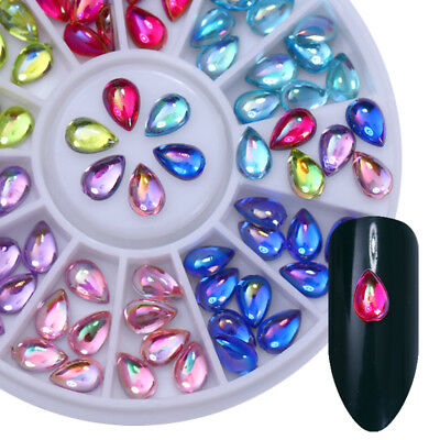 AB Color Nail Rhinestones 3D Nail Art Decoration in Wheel Rectangle Water Drop