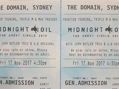 Midnight Oil Tickets x2 General Admission @ The Domain Sydney 17/11/2017
