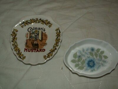 2 pin dishes 1 wedgwood clementine 1 lord nelson pottery colmans mustard