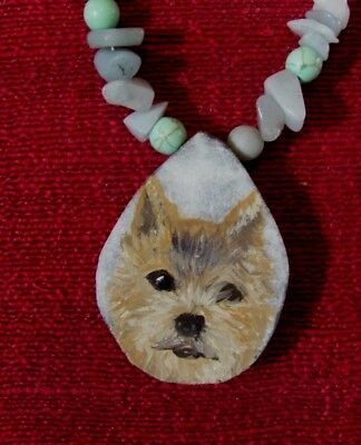 Norwich Terrier hand painted on teardrop Druzy Agate pendant/bead/necklace