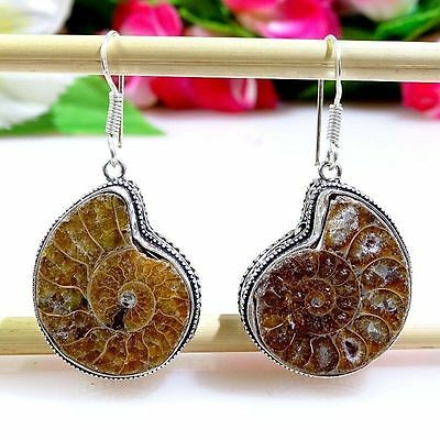 Awesome Ammonite Gemstone .925 Silver Vintage Jewelry Earrings 2.0""