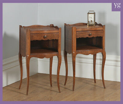 Antique Pair of French Louis XVI Style Oak Bedsides Nightstands Tables Cabinets