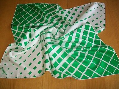 Jacqmar. Gorgeous Apple Green Geometric Design Vintage Silk Scarf
