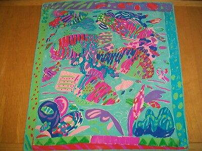 Ken Done ? Fabulous Vibrant Undersea Abstract Design Vintage Silk Scarf