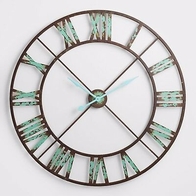 Round Large Wall Clock in Industrial Vintage Distressed Aqua Metal Art Decor NEW