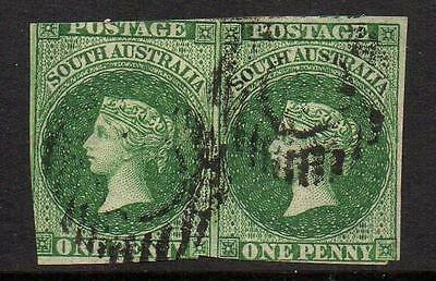 SOUTH AUSTRALIA 1855,No.1, 1p GREEN IMPERFORATED PAIR, FU VERY RARE IN PAIR,(q1)