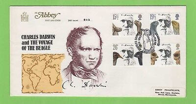G.B. 1982 Charles Darwin set on Abbey First Day Cover, Cambridge