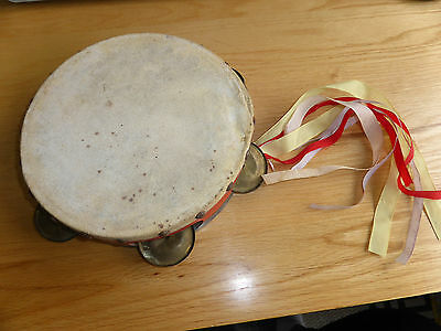 Antique Childs Tambourine With Ribbons