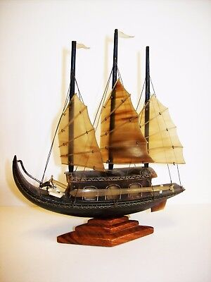 RARE Vintage Carved Horn Sailing Ship from Vietnam H.: 16,5 cm