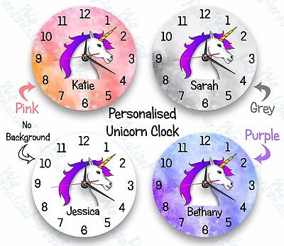 Personalised clock unicorn glass Clock with a Child's name gift Birthday