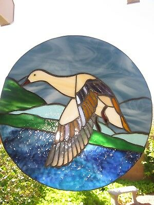 """11"""" Round Stained-glass """"Flying Duck"""" Window Hanging"""