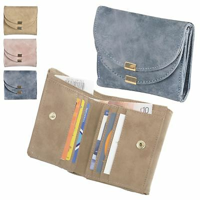 Ladies Ava Mini Purse Womens Suedette Small Fold Over Wallet Cards Notes Coins