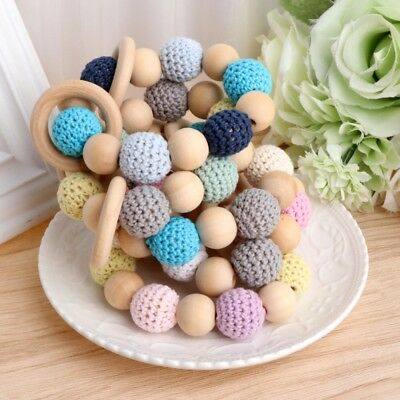 Wooden Baby Teether Teething Bracelet Crochet Beads Ring Play Chewing Toy Hot