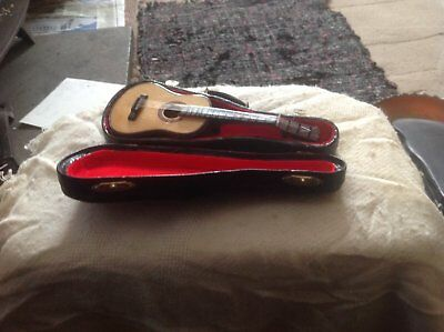 Decorative Miniature  Guitar In Case/ Approx 6 1/2 Inches Long