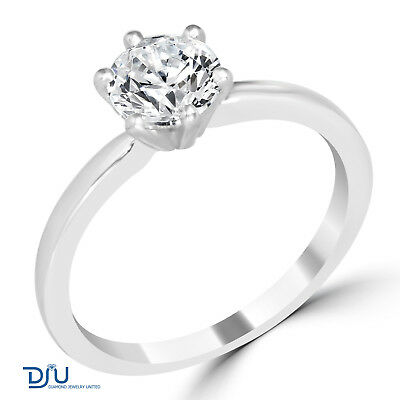 1.16 Ct Round Cut I1/D Diamond Engagement Ring 14K White Gold