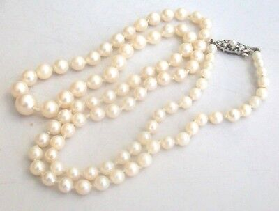 Fine 9ct / 9k 375 gold Art Deco cultured pearl necklace