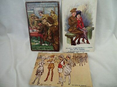 3 ,ww1,comic Postcards