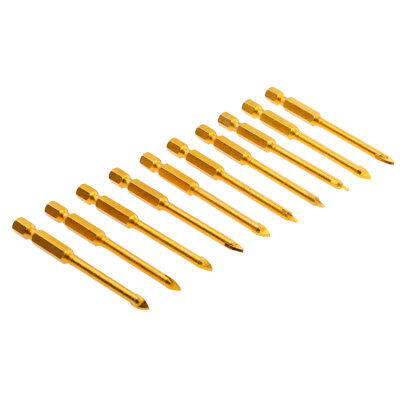 10x 5mm Hex Shank Slotted Spear Head Drill Bit for Glass Tile Mirror Ceramic