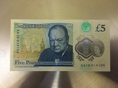 AA £5 Pound Note, AA10 014104, New & Uncirculated, Rare