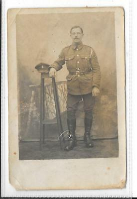 WW1 Photographic Postcard British Soldier in Uniform
