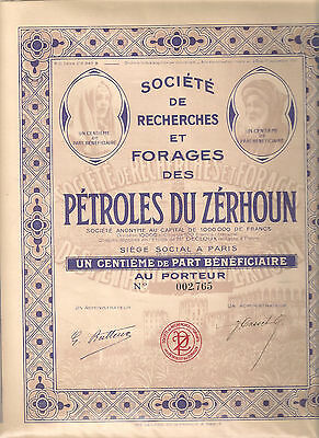 "Un centieme de part beneficiaire. "" PETROLES du ZERHOUN "". 1937."
