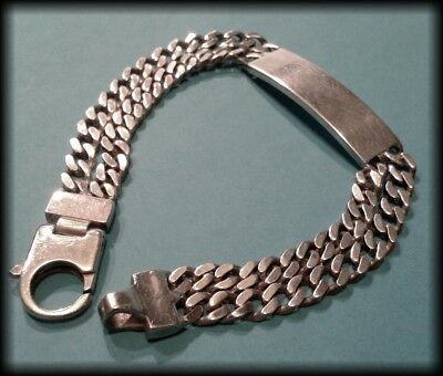 Men's Vintage 925 Sterling Silver Chunky Double Chain Identity ID Bracelet