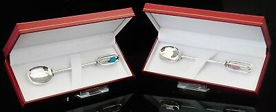 Sterling Silver Christening Rattle Spoon Blue Boys, Pink Girls, Gift Boxed NEW