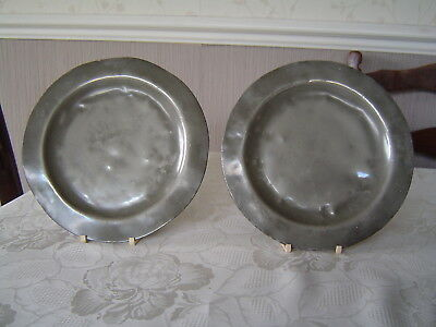 Antique / Vintage Pewter Plates - Two Plates