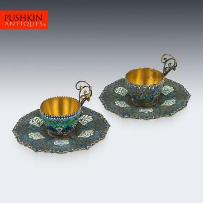 ANTIQUE 19thC AUSTRIAN SOLID SILVER-GILT, ENAMEL CUPS & SAUCERS c.1890