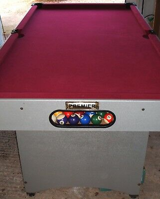 POOL SNOOKER TABLE, 6 X 3ft, FULL SET OF POOL BALLS, TRIANGLE, CUES ETC