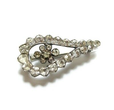 Stunning Old Antique Georgian Silver Paste Stone Halley's Comet Brooch Pin (D2)