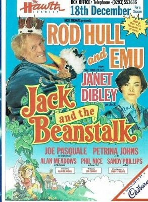 Jack and the Beanstalk Rod Hull & Emu Theatre Flyer Hand signed Janet Dibley 8x6