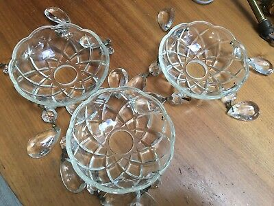 3 cut glass bobeche, chandelier parts -