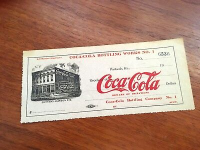 Coca Cola 1900s Paducah Kentucky Bottling Works Unused Paper Receipt Rare