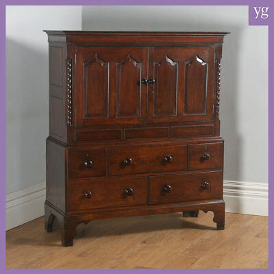 "Antique Georgian Welsh Housekeepers Oak ""Carmarthen Coffer"" Food Cupboard C.1790"