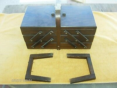 Vintage Wood sewing box basket caddy accordion Fold Out Made Romania Dark Wood