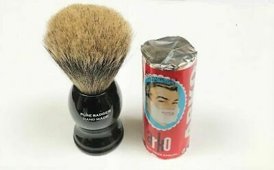 100% Pure Badger Shaving Brush With Black Handle, Stand & Free Arko Soap Stick