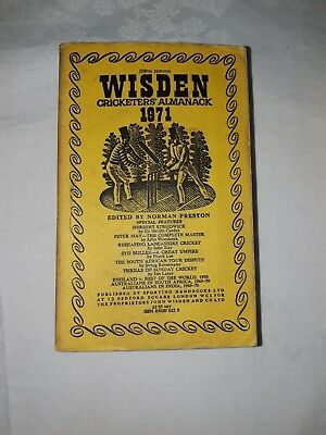 Wisdens Cricketers Almanack 1971 Softback