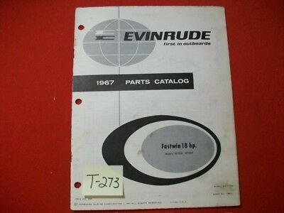 Original Factory 1967 Evinrude Outboard Parts Catalog Fastwin 18 Hp