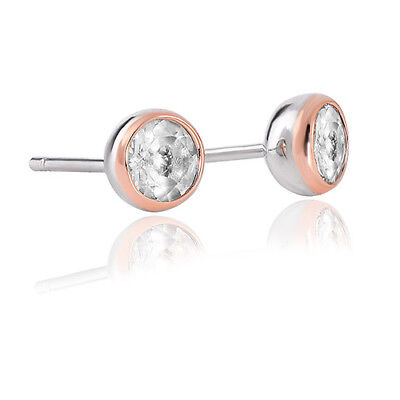 Official Clogau Silver & Rose Gold Celebration White Topaz Stud Earrings £30 off