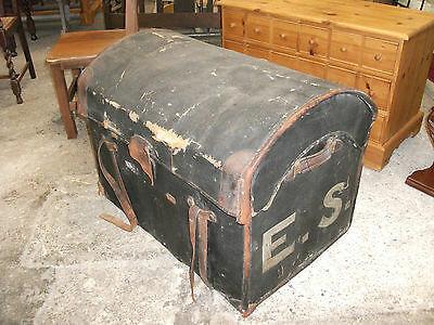 """2' 9"""" Battered Antique Dome Top Black Travel Trunk Pirate Chest Box Vintage Old"""