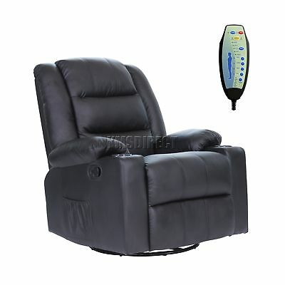 FoxHunter Leather Massage Cinema Recliner Sofa Chair Swivel Rocking MLS-04 Black