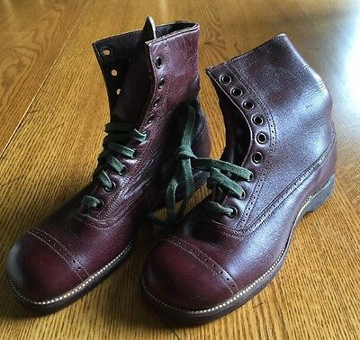 NOS Antique Early 1900's Boys HIGH TOP Friedman Shelby RED GOOSE Leather BOOTS