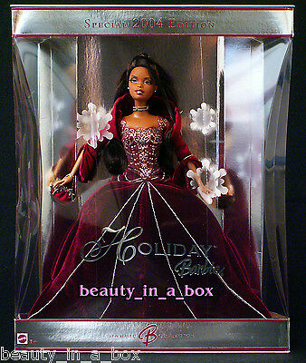 2004 AA Holiday Barbie Doll Celebration African American Red Burgundy ChristmasX