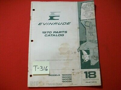 Original Factory 1970 Evinrude Outboard Parts Catalog Fastwin 18 Hp