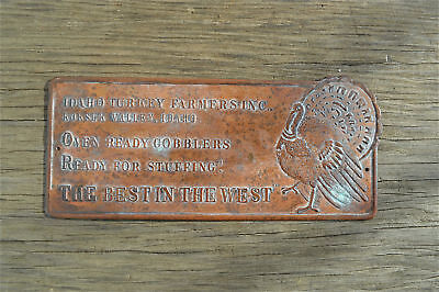 Antique copper humorous sign Idaho turkey stuffing  GT10