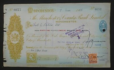 1923, Cheque, Overprint, George V Stamp ( MANCHESTER & COUNTY BANK LTD )