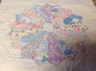Antique Dresden Plate Quilt Square 15 1/2 X 16~Feed sack Material