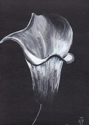NFAC ACEO original acrylic painting flower Calla signed by T.Volokhova
